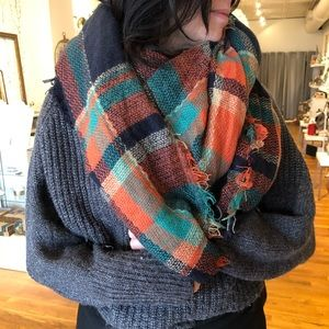 Accessories - Plaid Blanket Scarf/Wrap - Oversized
